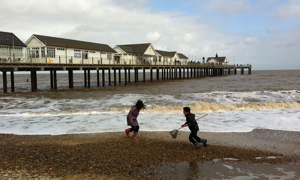 children playing on southwold beach