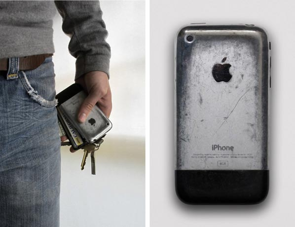 heavily worn iphone