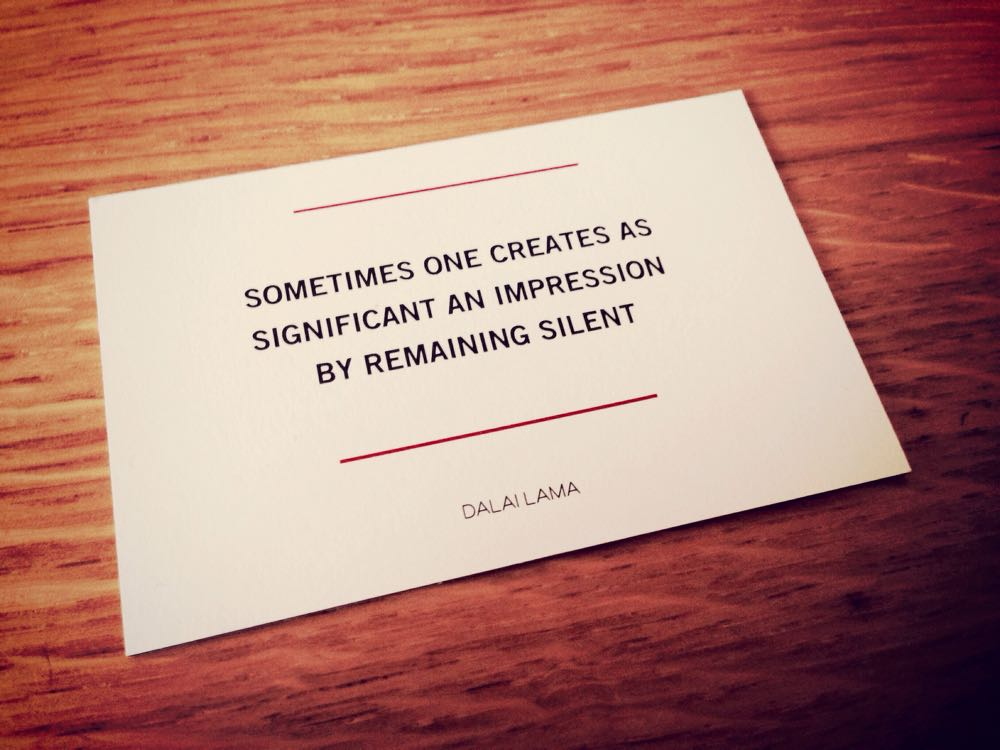 Remaining Silent Dalai Llama Quote Card