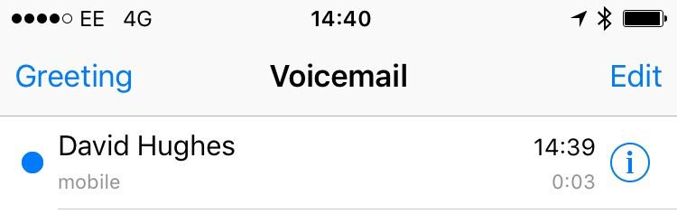 visual voicemail on ee