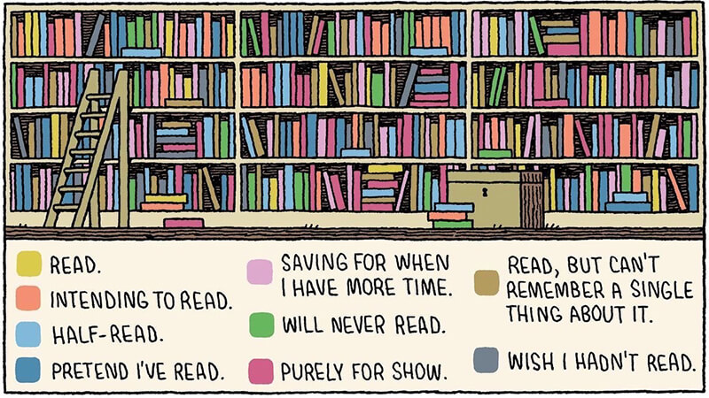Cartoon image of bookshelves full on unread and unfinished books